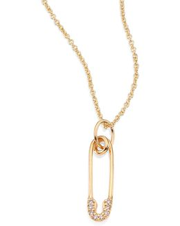 Safety Pin Diamond & 14k Yellow Gold Pendant Necklace