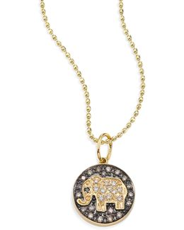 Small Elephant Diamond & 14k Yellow Gold Medallion Necklace
