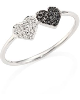 Small Pave Double Heart Diamond & 14k White Gold Ring