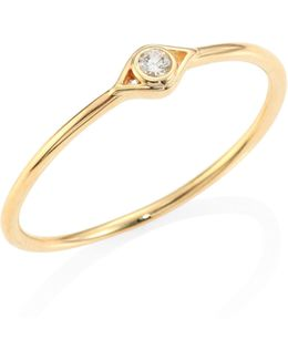 Small Open Evil Eye Diamond & 14k Yellow Gold Ring