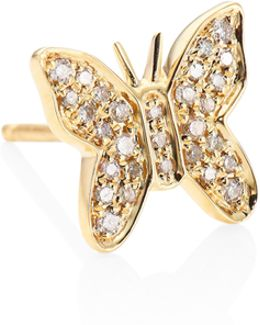 Butterfly Diamond & 14k Yellow Gold Single Stud Earring