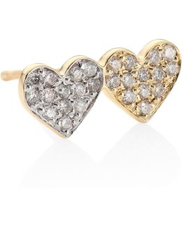 Small Pave Double Heart Diamond & 14k Yellow Gold Single Earring Stud