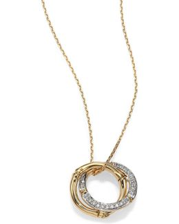 Bamboo Small Diamond & 18k Yellow Gold Interlinking Ring Pendant Necklace