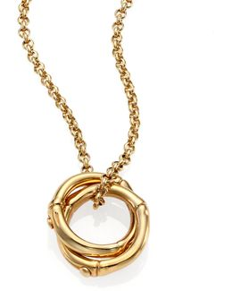 Bamboo Small 18k Yellow Gold Interlinking Ring Pendant Necklace