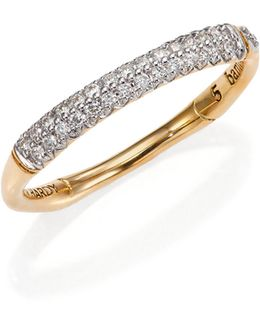 Bamboo Slim Diamond & 18k Yellow Gold Band Ring