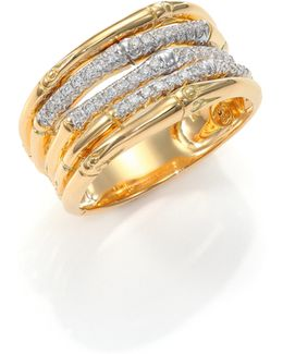 Bamboo Diamond & 18k Yellow Gold Ring