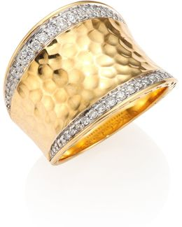 Classic Chain Pave Diamond & 18k Yellow Gold Hammered Saddle Ring