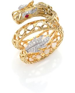 Legends Naga 18k Gold, African Ruby & Pave Diamond Dragon Coil Ring