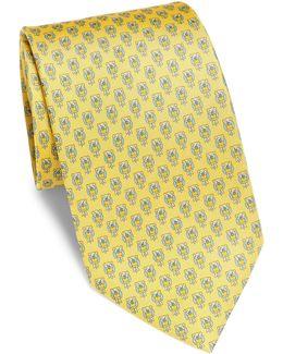 Giallo Owl Pattern Silk Tie