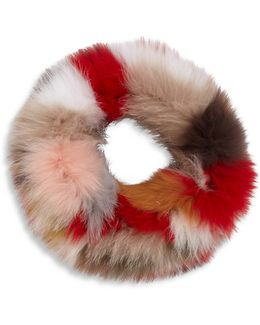 Multicolor Fox Fur Cowl Scarf