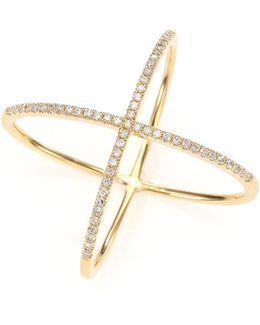 Diamond & 14k Yellow Gold X Ring