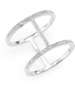 Diamond & 14k White Gold Bar Ring