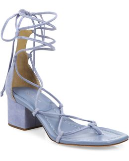 Ayers Suede Lace-up Block Heel Sandals