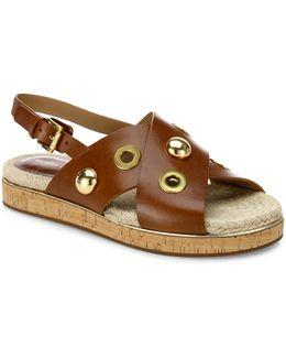Hallie Studded Leather Crisscross Slingback Sandals