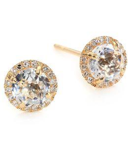 Diamond, White Topaz & 14k Yellow Gold Stud Earrings