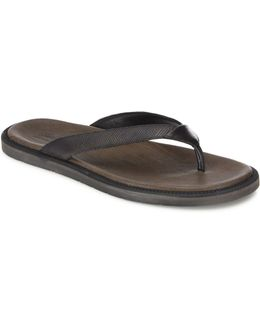 Textured Leather Flip Flops