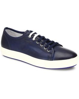 Dual Lace Up Leather Sneakers