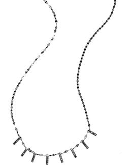 Reckless Mini Bar Black Diamond & 14k Black Gold Necklace