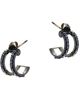 Reckless Black Diamond & 14k Black Gold Huggie Earrings