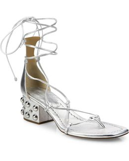 Ayers Metallic Leather Lace-up Block Heel Sandals
