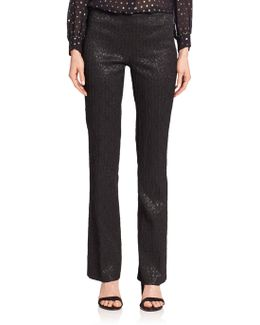 Metallic Stretch-jacquard Pants