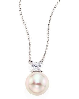 12mm White Round Pearl & Crystal Pendant Necklace