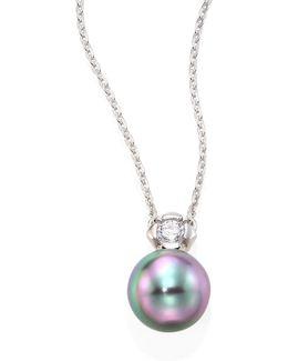 9mm Grey Baroque Pearl & Crystal Pendant Necklace