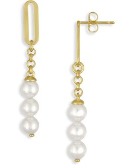 6mm Organic Organic Pearl Linear Drop Earrings