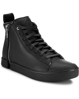 Laced Leather High-top Sneakers