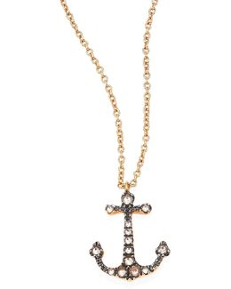 Love Diamonds & 18k Rose Gold Anchor Pendant Necklace
