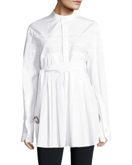 Kaimee Belted Pleated Cotton Shirt