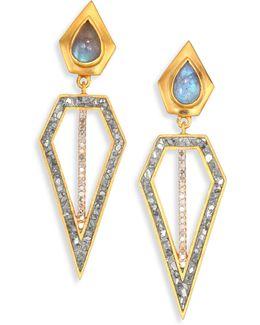 Chirala Diamond & Labradorite Drop Earrings