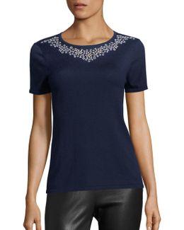 Embellished Silk & Cashmere Top