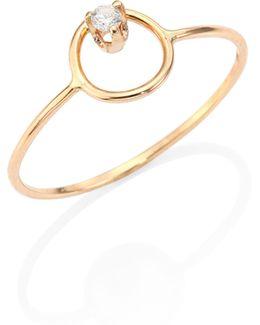 Diamond & 14k Yellow Gold Circle Ring