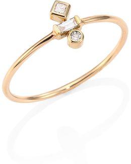 Mixed Diamond & 14k Yellow Gold Ring