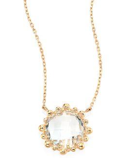 Dew Drop White Topaz & 14k Yellow Gold Mini Round Pendant Necklace