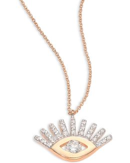 Evil Eye Diamond & 14k Rose Gold Pendant Necklace