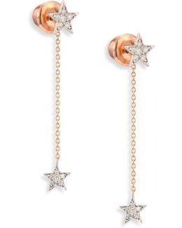 Two-star Diamond & 14k Yellow Gold Drop Earrings