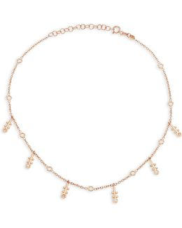 Bezel Diamond & 14k Rose Gold Choker