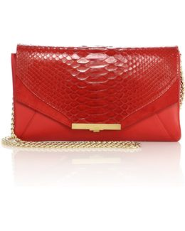 Roya Leather & Python Envelope Clutch