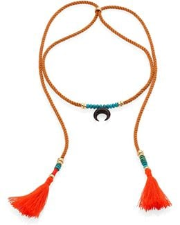 Sand Twist Horn & Turquoise Tassel Cord Necklace