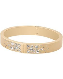 Modern Brilliance Crystal Hinged Bangle Bracelet/goldtone