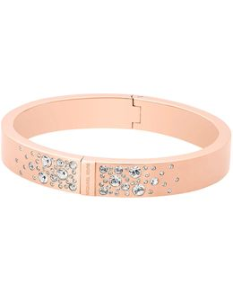 Modern Brilliance Crystal Hinged Bangle Bracelet/rose Goldtone