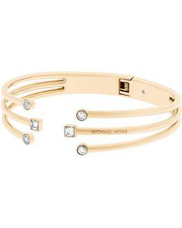 Crystal Open Cuff Bracelet/goldtone
