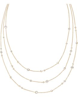 Modern Brilliance Crystal Three-strand Necklace/goldtone