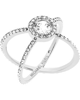 Modern Brilliance Crystal Double-band Ring/silvertone