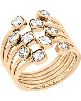 Modern Brilliance Crystal Ring/goldtone