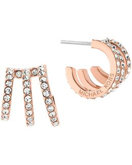 Modern Brilliance Crystal Pave Huggie Earrings/rose Goldtone
