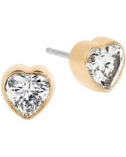 Modern Brilliance Crystal Heart Stud Earrings/goldtone