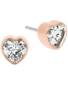 Modern Brilliance Crystal Heart Stud Earrings/rose Goldtone